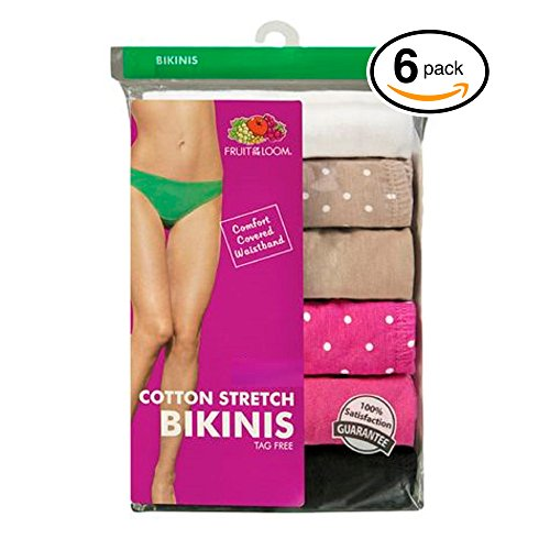 Fruit of the Loom Women's 6-Pack Assorted Colors Cotton Bikini Panties (Small / 5, Cotton - Panties Fruit The Stretch Loom Of