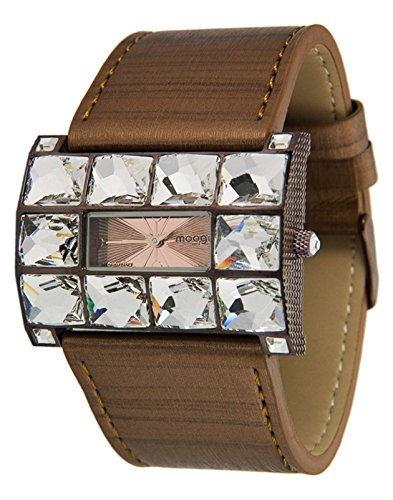 Moog Paris - Crystal - Women's Watch with rose gold dial, brown strap in Genuine calf leather, made in France - M45322-004