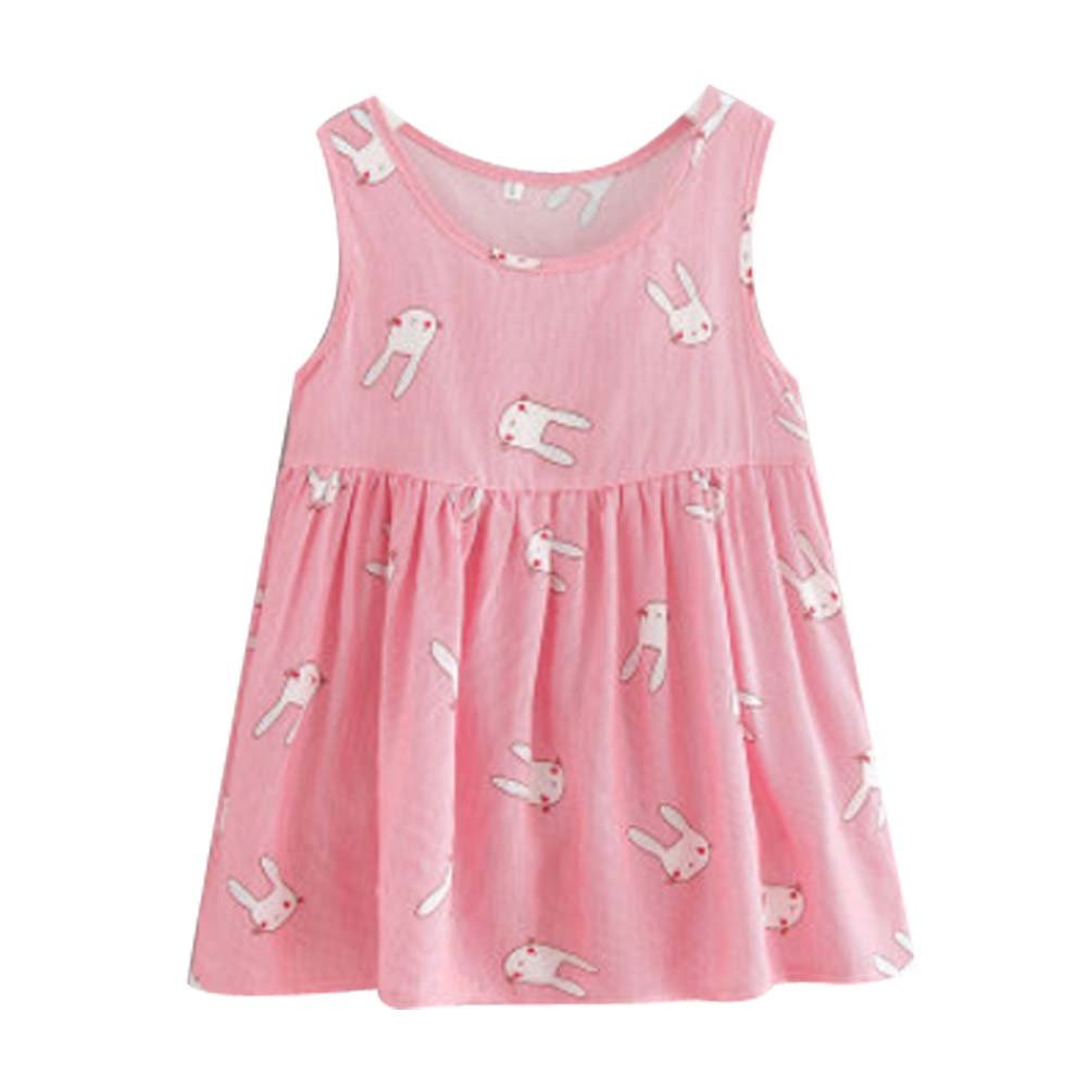 Koala Superstore Sleeveless Cotton Dress Vest Skirt for Girls Home Nightdress Kids' Pajama [A]