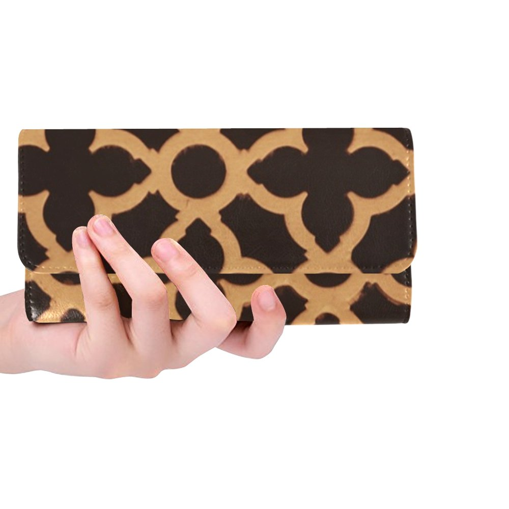 Unique Custom Patterns Wooden Brown Floral Abstracts Designs Women Trifold Wallet Long Purse Credit Card Holder Case Handbag by RYUIFI