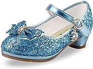 ANBIWANGLUO Girls Sequin Shoes Princess High Heel Shoes Kids Party Pumps