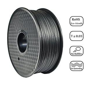 PRILINE Carbon Fiber 1KG 1.75 3D Printer Filament, Dimensional Accuracy +/- 0.03 mm, 1kg Spool, 1.75 mm,Black by PRILINE