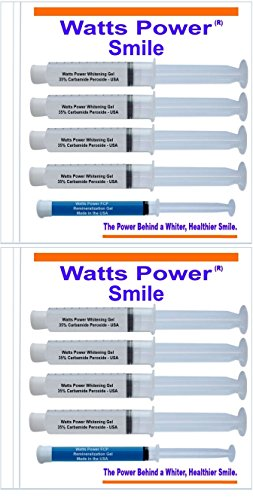 Watts Power 35% Teeth Whitening Gels - 8 Huge 10ml Gels Plus NEW FCP Enamel Gel / Dual Action for Surface and Deep Stains - 80ml - Made in the USA