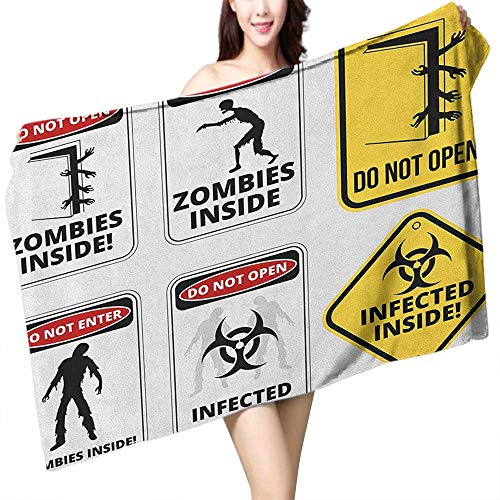 Perfectble Beach Towel Zombie Warning Signs for Evil Creatures Paranormal Construction Design Do Not Open Artwork W20 xL39 Suitable for bathrooms, Beaches, Parties
