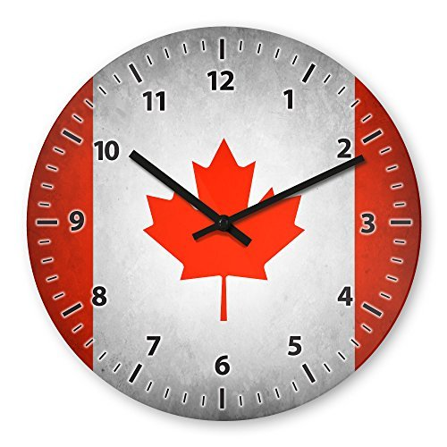 Canada Flag Wooden Wall Clock Silent Non-ticking Wall Clocks Decorative for Living Room Bedrooms Nursery Clock Children Watch