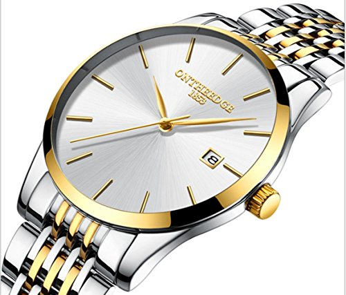 L& H Jewelry Mens Business Watch Fashion Super Thin Quartz Movement Analog Watch Pointer Display Watch (White + Gold) from L & H Jewelry