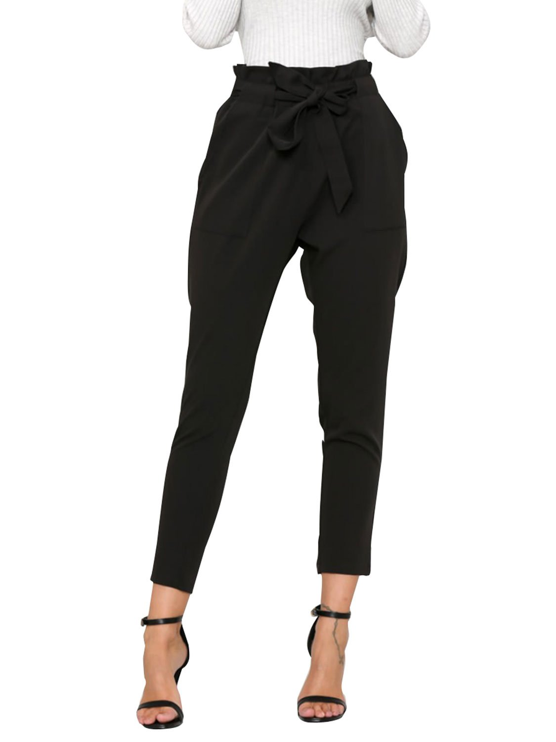 Simplee Apparel Women's Slim Straight Leg Stretch Casual Pants with Pockets, Black, 1/11, X-Large