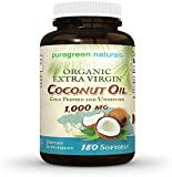1000 uses for coconut oil - Coconut Oil Capsules - 1000 mg Organic Extra Virgin - 180 Softgels - Great Pills for Energy, Weight Management, Hair, and Skin