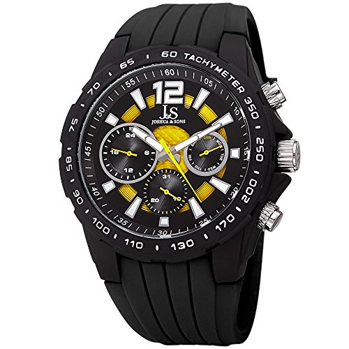 Joshua & Sons Multi-Function Double Layer Accented Dial with Matte Black Case and Matte Black Bezel on Silicone Sport Strap JX126 (Black Strap/Yellow Accents)