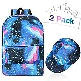 Qunan Galaxy Backpack Canvas School Bookbag Travel Bag with Royale Luminous Baseball Cap Hat for Boys Girls