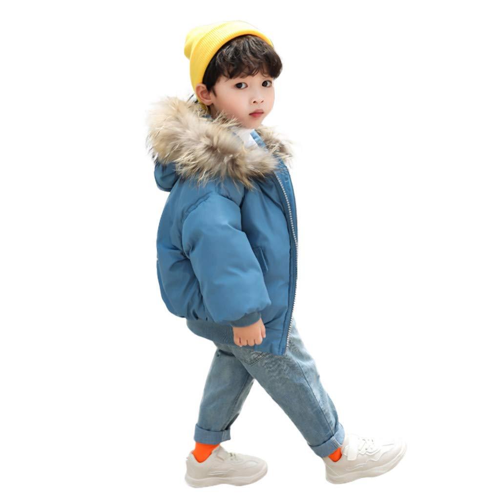 Wenini Kids Children's Winter Jackets Solid Zipper Warm Girls Hooded Jackets Outerwear Coats by Wenini