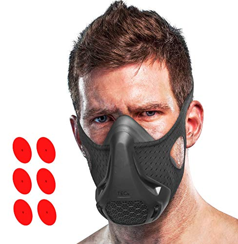 (TEC Workout Mask - 16 Training Breathing Levels, Gain Benefits of High Altitude Elevation Training for Running, Biking, Cardio, Sports; Increases Strength, Endurance, Stamina [+ Free Bonus Carry)