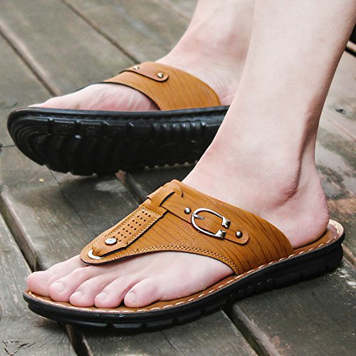 L'été jaunelumière67885 Zhangjia chaussuresdeplageoccasionnelsetd'antidérapage hommessandales 38 coréenportablechaussons p66wqd