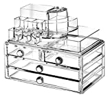 Ohuhu Acrylic Makeup Organizer Jewelry Cosmetic Storage Display Boxes 4 Drawers with Top Section