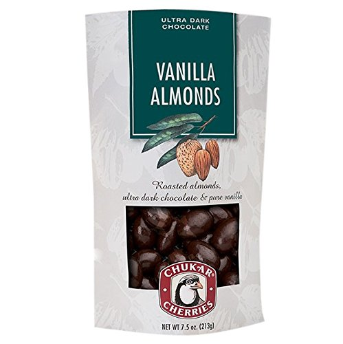 Chukar Cherries Vanilla Almonds with Ultra Dark Chocolate, Roasted Almonds, and Pure Vanille 7.5 Ounce Bag