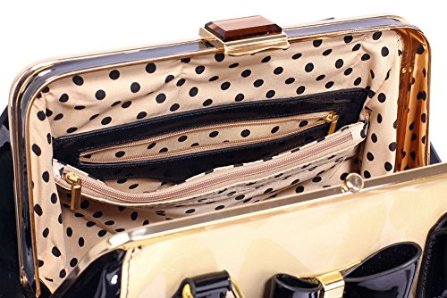 With and Work Metal 2 Handbags leather Medium Faux Bow Tote Design Designer Womens Bags Nude Ladies wq8vxBp