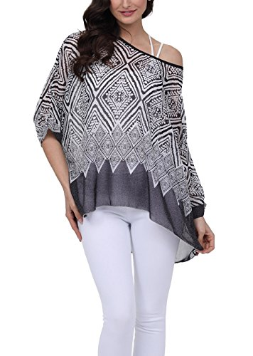 Floral Chiffon (Vanbuy Women Summer Floral Printed Batwing Sleeve Top Chiffon Poncho Casual Loose Blouse Z91-4285)