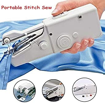 nvIEFE Mini Sewing Machine Handheld Stitch Machine Portable Electric Stitch Household Tool for Fabric Home Travel Use Crafts