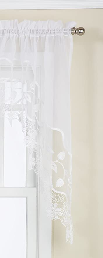 LORRAINE HOME FASHIONS Seville Tailored Swag Pair, 60 by 30-Inch, White