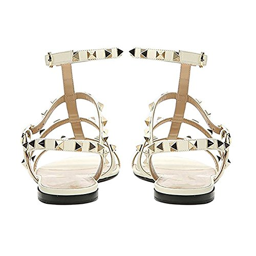Pantoufles Caitlin Blanc Strappy Studded 45 Pan Sandales Or Rockstud Femmes 35 Mules Rivets Goujons rSg8wPqS4