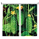 ZZHL Curtains Curtains,Hooks Rings Thermal Insulated Bedroom Blackout for Livingroom Kitchen 2 Panels Vegetables (Size : 150x270cm)