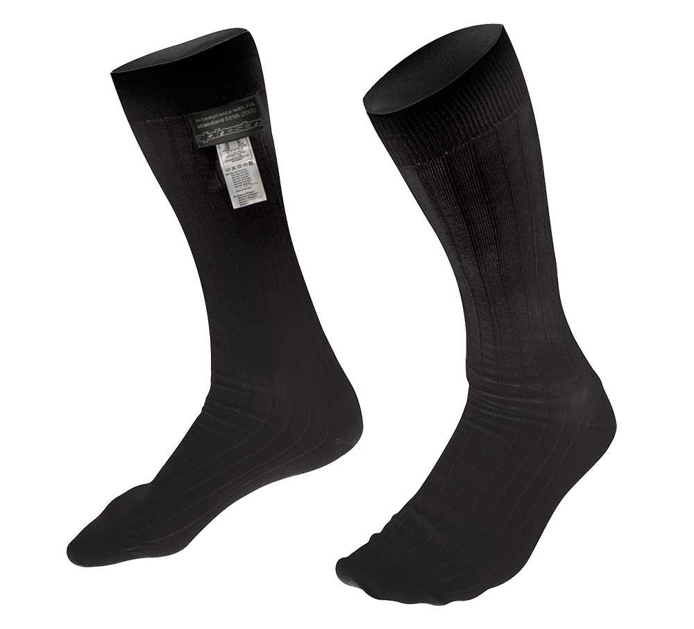 Alpinestars 4704318-10-XL ZX V2 Nomex Socks, Black, Size XL, FIA 8856-2000