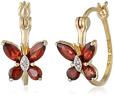 18k Yellow Gold Plated Sterling Silver and Diamond Accent Butterfly Hoop Earrings