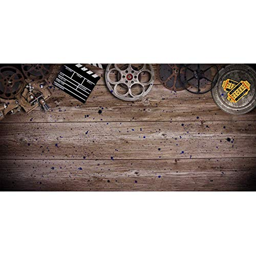 Vintage Film Background Wooden Texture Board 10x5ft Polyester Photography Backdrop Old Movie Tickets Film Reels Clapperboard Projector Shabby Dots Portraits Shoot Studio Decor Photo Prop from Thera Whittier Backdrops