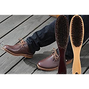 Clothes Brush Garment Brush Lint Remover Brush with Genuine Soft Horsehair and Wooden Handle for Coat Men Suits Shoes Jacket Furniture Car Mat and Pet Hair by Cokaka (2-Pack solid wood+walnut wood)