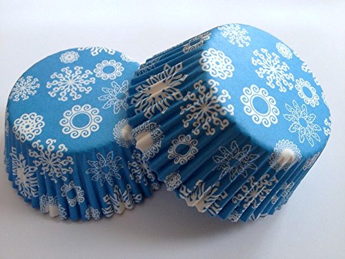 Package of 50 Pcs Small Decorative Vintage Snowflake Cupcake Muffin Liner Baking Cup Blue Snow Liners Cups Kitchen Standard Size 5 cm (2 inches) X 3 cm (1 1/8 inches) MINI Round , 50 count