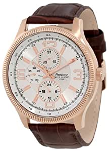Armitron Men's 20/4863SVRGBN Rose Gold-Tone Brown Leather Strap Watch