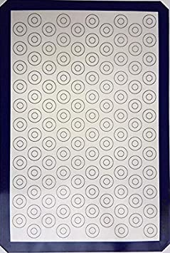 Mittelain Silicone Baking Mat (2 Pack) - with Mini Macaron Pattern - Made with materials from Germany - 53 Cookie Circles Per Sheet MAT2H2P