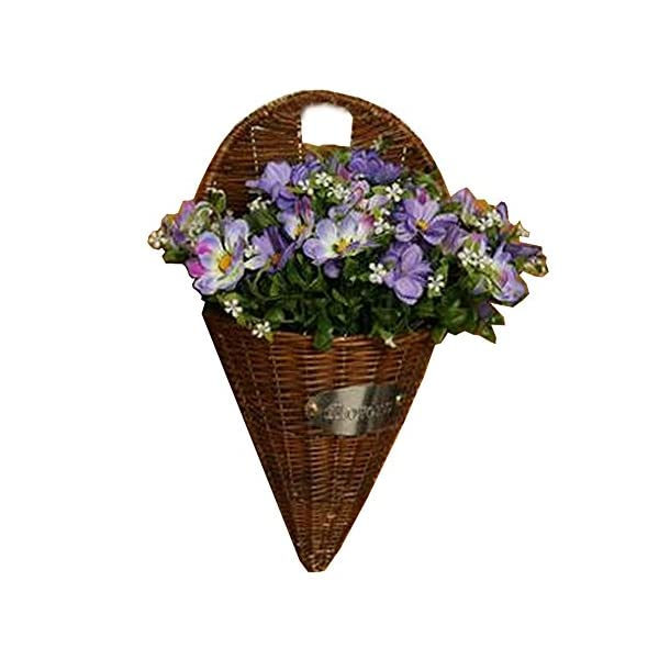 Alien Storehouse Artificial Flowers Hanging Basket Fake Flowers with Basket Cosmos Purple