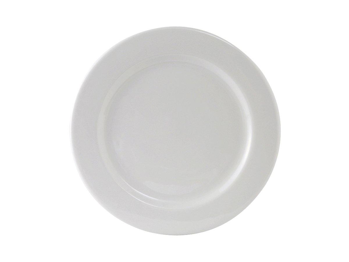 Tuxton ALA-120 Vitrified China Alaska Plate, Wide Rim, Rolled Edge, 12'', Porcelain White (Pack of 12)