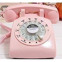 VIVISKY Classic 1960s Design Rotary Retro Rotary Dial Bell Desk Telephone-Pink
