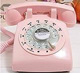VIVISKY Classic 1960's Design Rotary Retro Rotary Dial Bell Desk Telephone-Pink