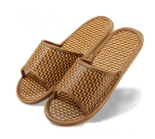 Women's Men's House Flax Bamboo Straw Slides Open-Toe Slippers Flip Flop Slip on Bath Spa Summer Sandal Lightweight Shoes Breathable Four-Season Indoor (1 Pack/7.5-8.5 M US Men, 01/Grass) ()