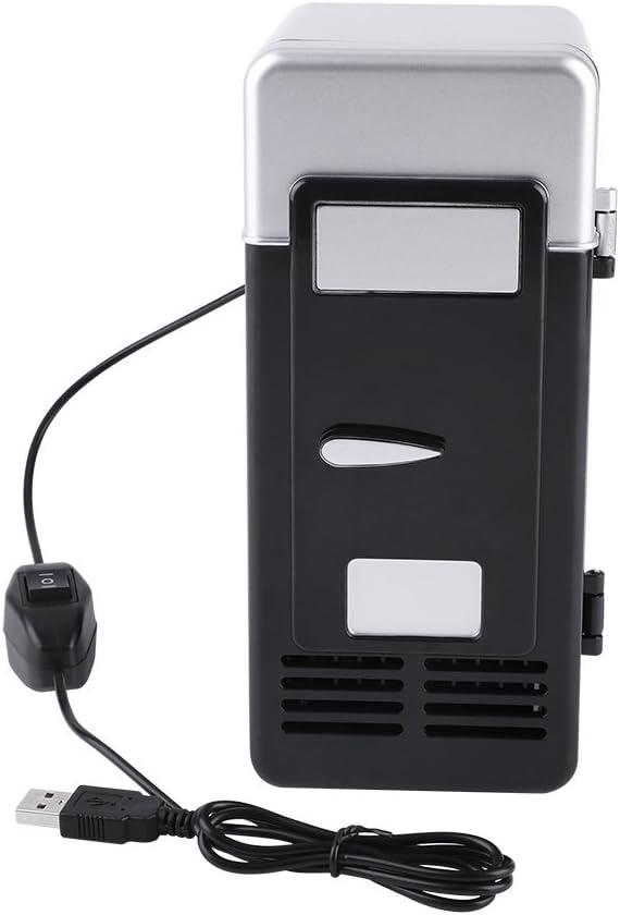 Mini USB Refrigerator Cooler Beverage Drink Cans Refrigerator and Heater for Office Desktop Hotel Home Car (Black)