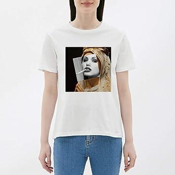 WDFSER Camisetas Gráficas Mujer Algodón J Camiseta Punk Harajuku ...
