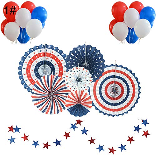 (wewa98698 4th of July Independence Day Hanging Paper Balloon Fan Garlands Kit Party Decor 1#)