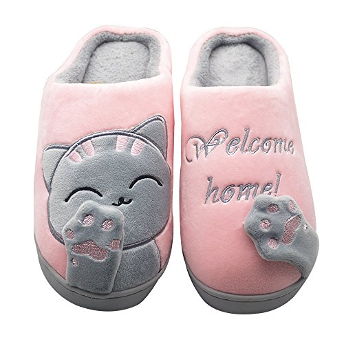 Shoes Slip Slippers Light Women Cat ChicPro Bedroom Slippers Cute for Fuzzy House Non Men Ladies Warm Pink Winter xqOzwgq