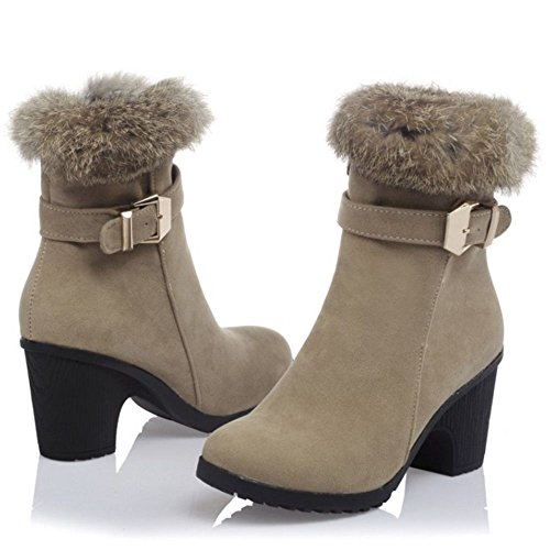 COOLCEPT Women Fashion Block High Heels Artificial Fur Lined Party Ankle Boots Ivory kM7s7Z75I