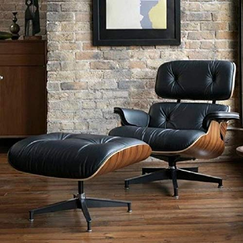 Mid Century Modern Lounge Chair with Ottoman,Mid Century Recliner Chair – High Grade Leather – Black Palisander Wood Lounge Chair Replica (Black Palisander)