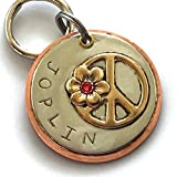 Personalized Pet ID Tag - Joplin - Peace Symbol with Flower Embellished with a Swarovski Crystal