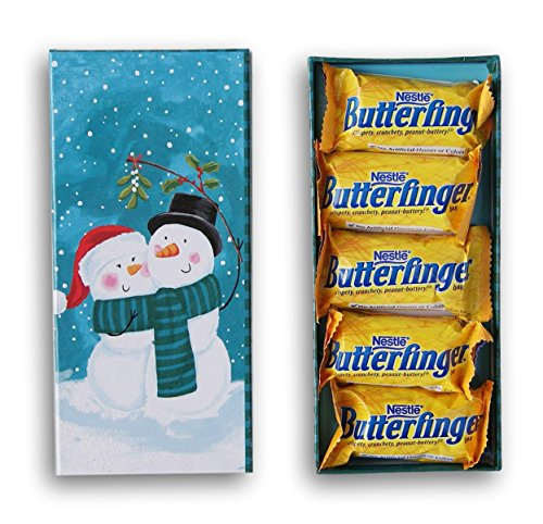 Winter Lovers Snowman Hugs & Kisses Candy Gift box - 5 Butterfingers (Butterfinger Gifts)