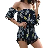 Pineapple Printed Short Romper Jumpsuit Off Shoulder Summer Tropical Pineapple Floral Romper for Women Size XL (US 10) (Black)