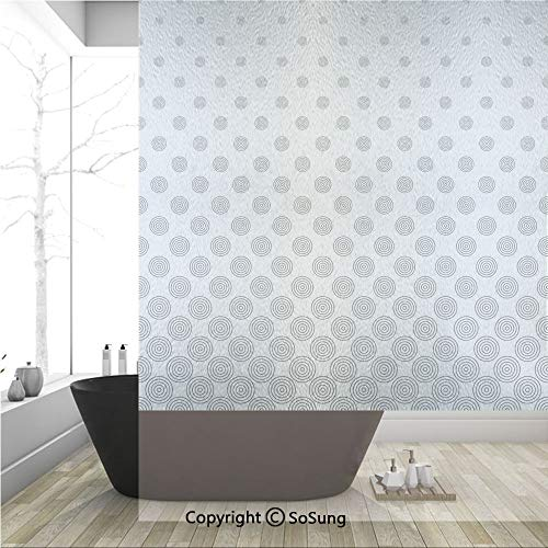 3D Decorative Privacy Window Films,Spiraling Rotary Circle Turning to Polka Dots Concentric Grid Lines,No-Glue Self Static Cling Glass Film for Home Bedroom Bathroom Kitchen Office 36x48 - Dot Concentric
