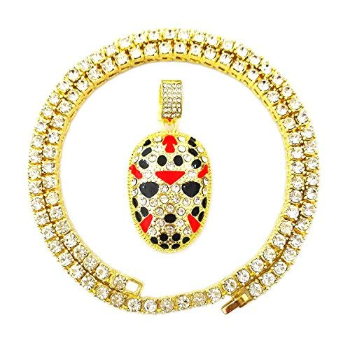 HH Bling Empire Mens Iced Out Hip Hop Gold Artificial Diamond Ankh Cross cz Tennis Chain 22 Inch (Tennis Chain & Rapper Mask)