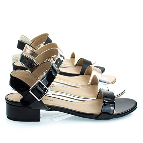 Ciudad Clasificada Low Chunky Block Heel Dress Sandal, Mujeres Open Toe Summer Zapatos Black Patent