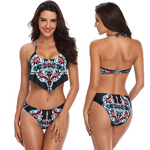 0fe31729565 Memory baby Women s Bikini Set Vintage Printed Ruffle Bra Top with Briefs